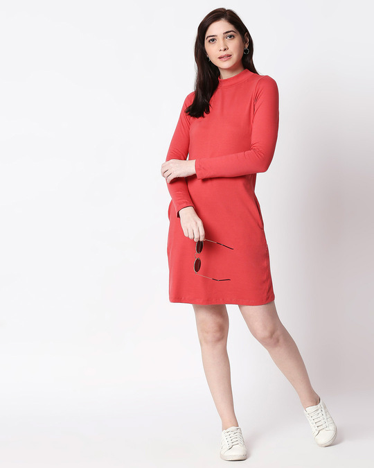 Shop Brick Red High Neck Pocket Dress