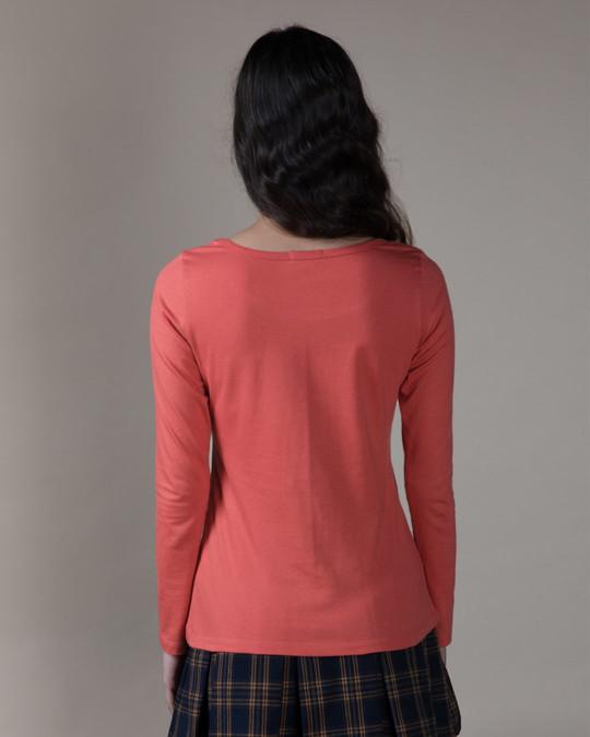 Shop Brick Red Scoop Neck Full Sleeve T-Shirt