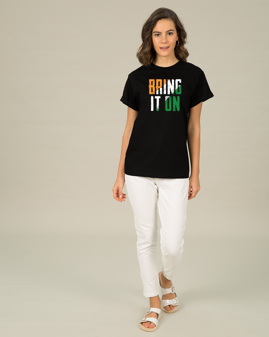 Shop Bring It On Tricolor Boyfriend T-Shirt-Full