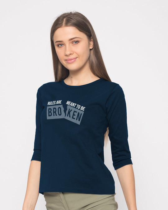 Shop Broken Rules Round Neck 3/4th Sleeve T-Shirt-Back