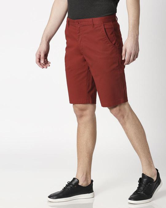 Shop Burnt Red Textured Men's Shorts-Design