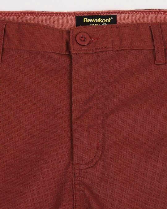 Shop Burnt Red Textured Men's Shorts