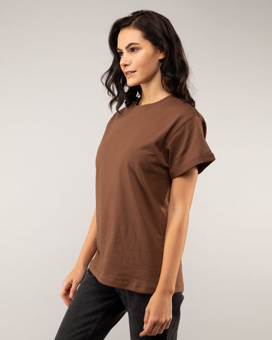 Shop Brown Boyfriend T-Shirt-Back