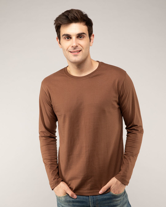 Shop Brown Full Sleeve T-Shirt-Front