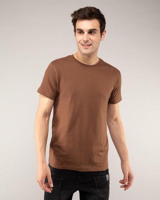 Shop Brown Half Sleeve T-Shirt-Front