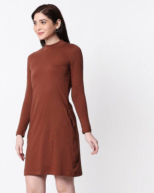 Shop Brown High Neck Pocket Dress-Design