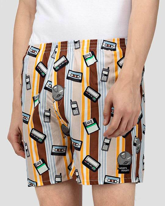 Shop What's Down | Brown Old Tech Boxer Shorts | Year 2000 Boxers-Back