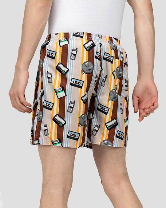 Shop What's Down | Brown Old Tech Boxer Shorts | Year 2000 Boxers-Design