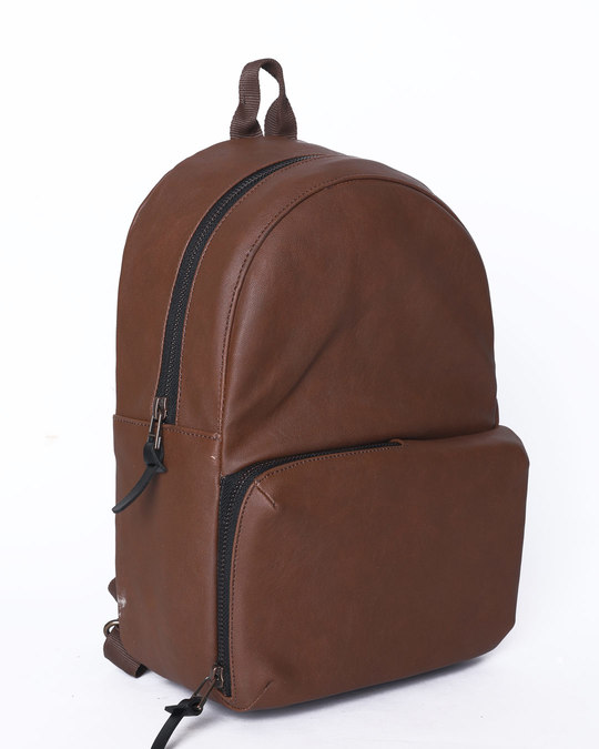 Shop Brown Rexine Compact Backpack-Full