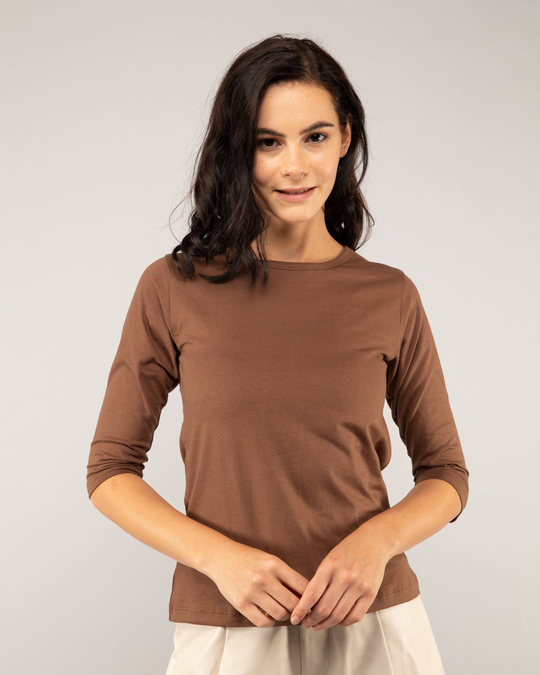Shop Brown Round Neck 3/4th Sleeve T-Shirt-Front