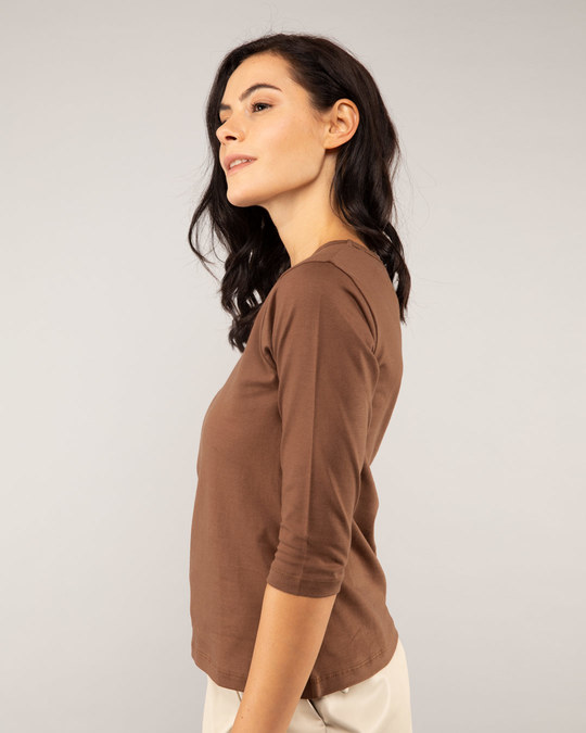 Shop Brown Round Neck 3/4th Sleeve T-Shirt-Back