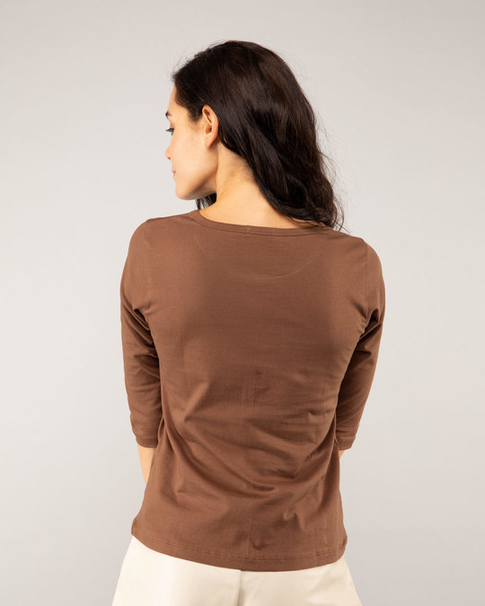 Shop Brown Round Neck 3/4th Sleeve T-Shirt-Full