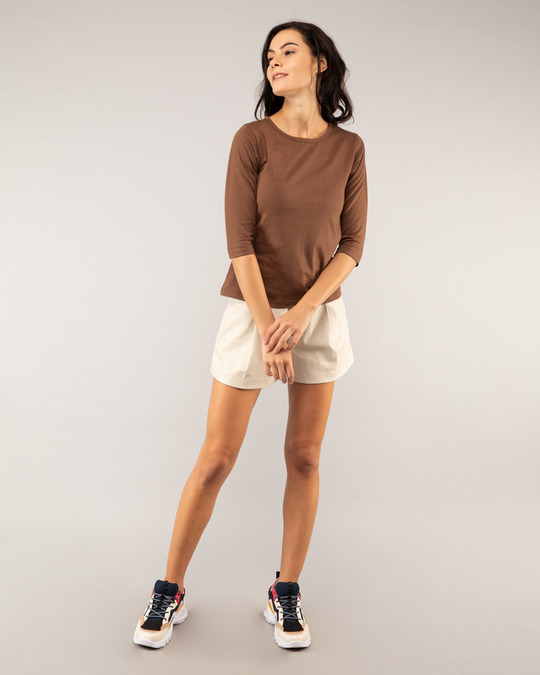 Shop Brown Round Neck 3/4th Sleeve T-Shirt