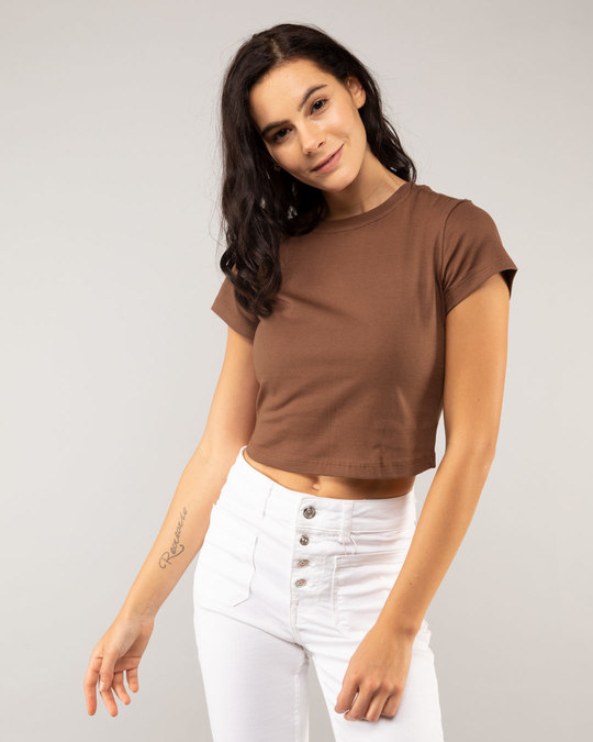 Shop Brown Round Neck Crop Top T-Shirt-Front