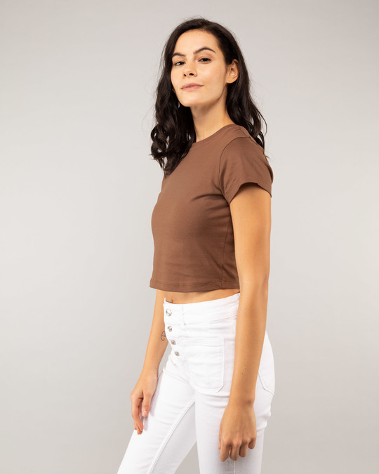 Shop Brown Round Neck Crop Top T-Shirt-Back