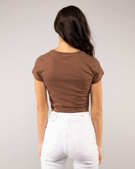 Shop Brown Round Neck Crop Top T-Shirt-Design