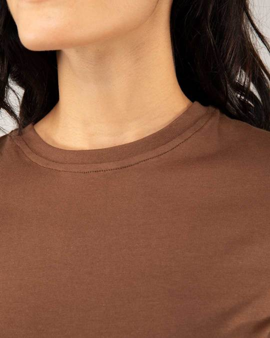 Shop Brown Round Neck Crop Top T-Shirt