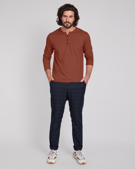 Shop Brown V-Neck Henley T-Shirt-Design