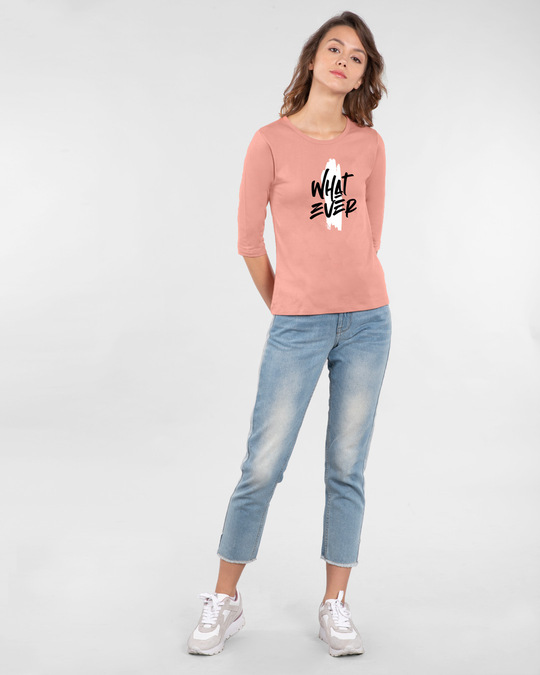 Shop Brush Stroke Whatever Round Neck 3/4 Sleeve T-Shirts Misty Pink-Design