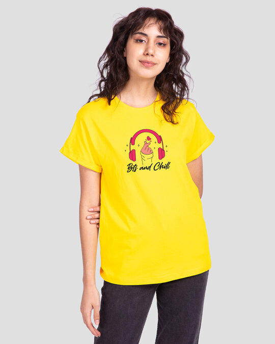 Shop BTS And Chill Boyfriend T-Shirt Pineapple Yellow-Front