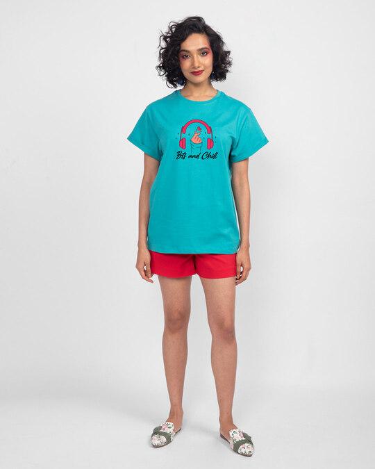 Shop BTS And Chill Boyfriend T-Shirt Tropical Blue-Full
