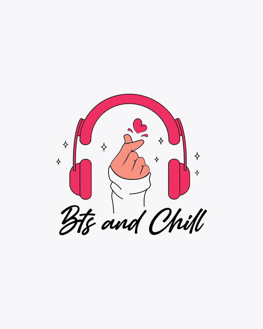 Shop BTS And Chill Round Neck 3/4th Sleeve T-Shirt White-Full