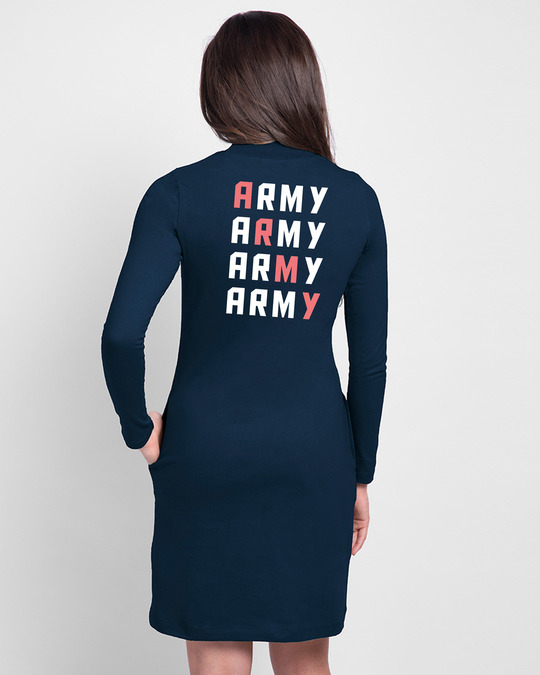 Shop BTS Army Love High Neck Pocket Dress Navy Blue-Design