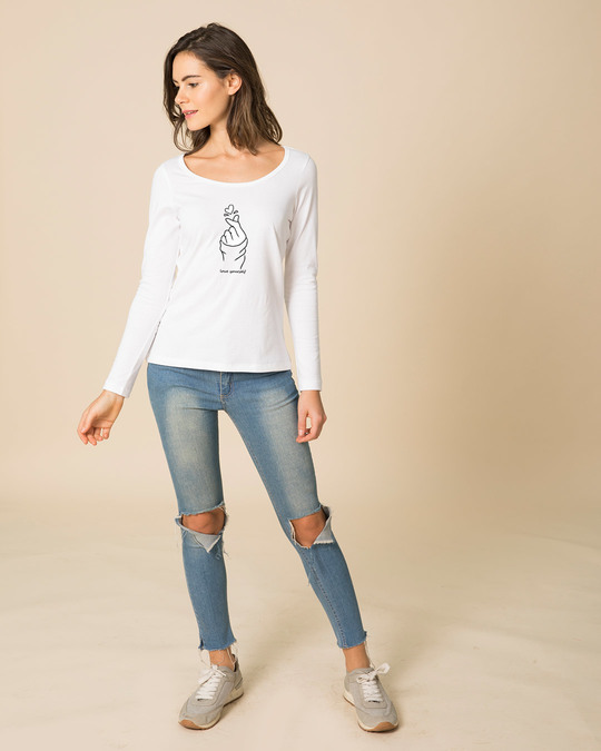 Shop Bts Love Yourself Scoop Neck Full Sleeve T-Shirt-Full