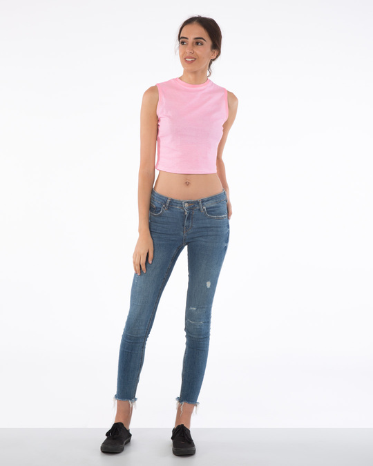 Shop Bubblegum Pink Stripes Cropped Tank Top-Full