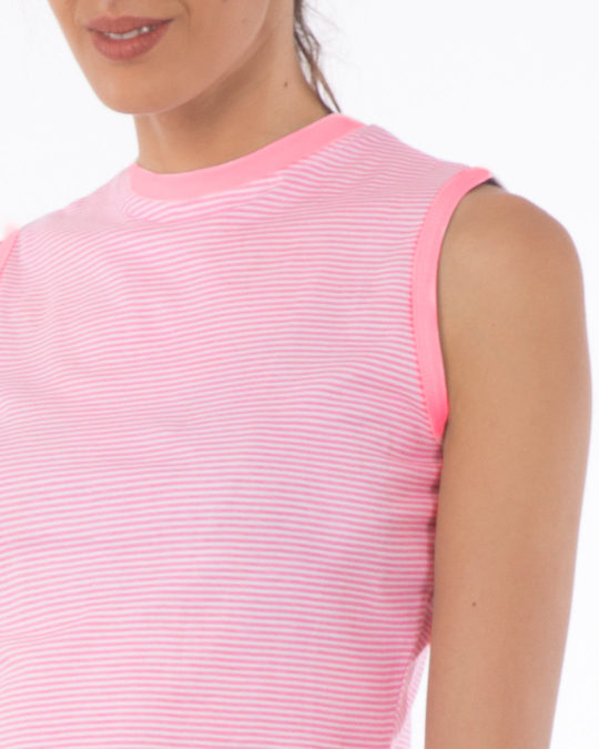 Shop Bubblegum Pink Stripes Cropped Tank Top