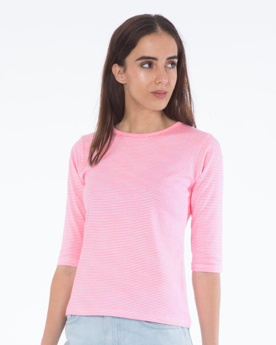 Shop Bubblegum Pink Stripes Round Neck 3/4th Sleeve T-Shirt-Back