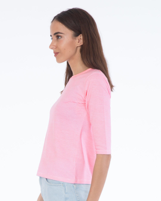 Shop Bubblegum Pink Stripes Round Neck 3/4th Sleeve T-Shirt-Full