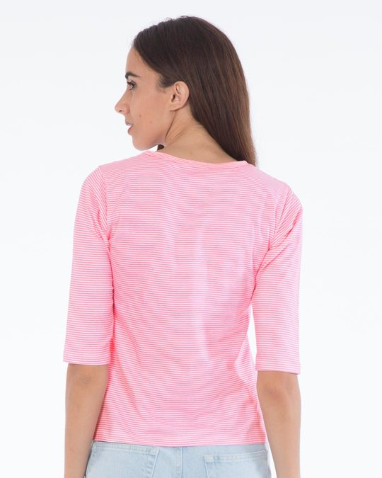 Shop Bubblegum Pink Stripes Round Neck 3/4th Sleeve T-Shirt