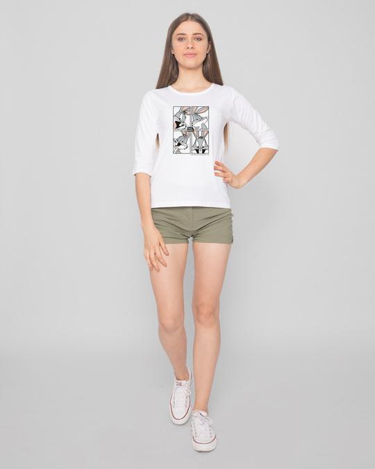 Shop Bugs Bunny moods Round Neck 3/4 Sleeve T-Shirts (LTL) White-Full