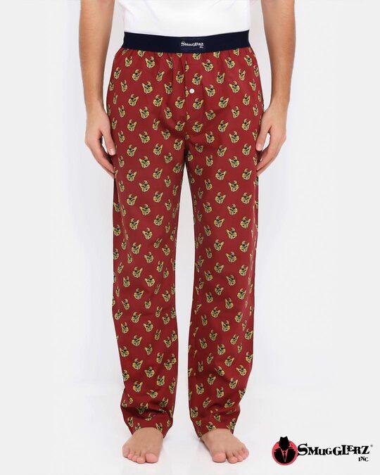 Shop Smugglerz Bulldog Pyjamas Maroon-Front