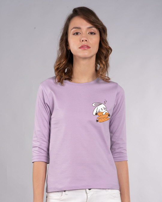 Shop Bunny Carrot Nap Round Neck 3/4th Sleeve T-Shirt-Back