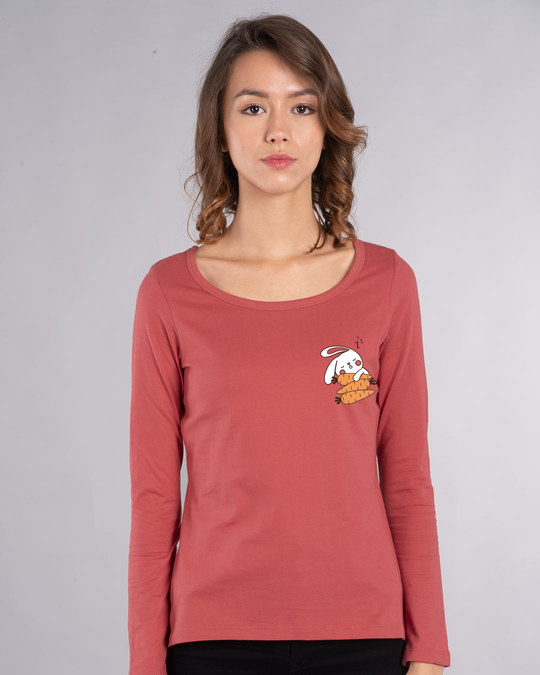 Shop Bunny Carrot Nap Scoop Neck Full Sleeve T-Shirt-Back