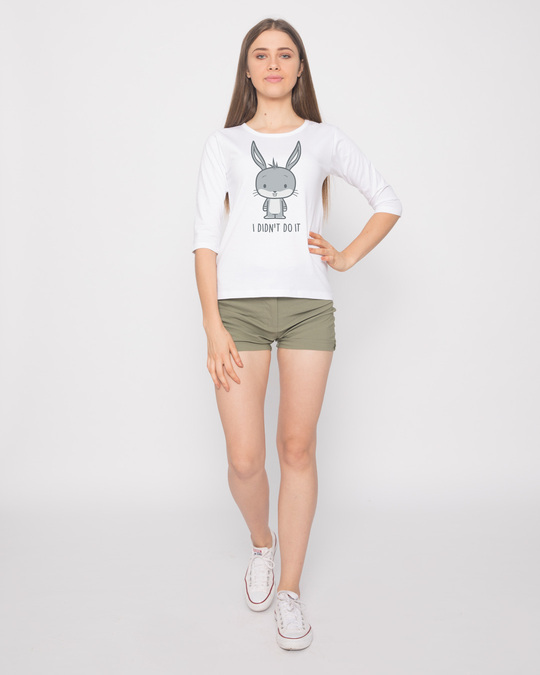 Shop Bunny Didn't Do It Round Neck 3/4th Sleeve T-Shirt ( LTL )-Full