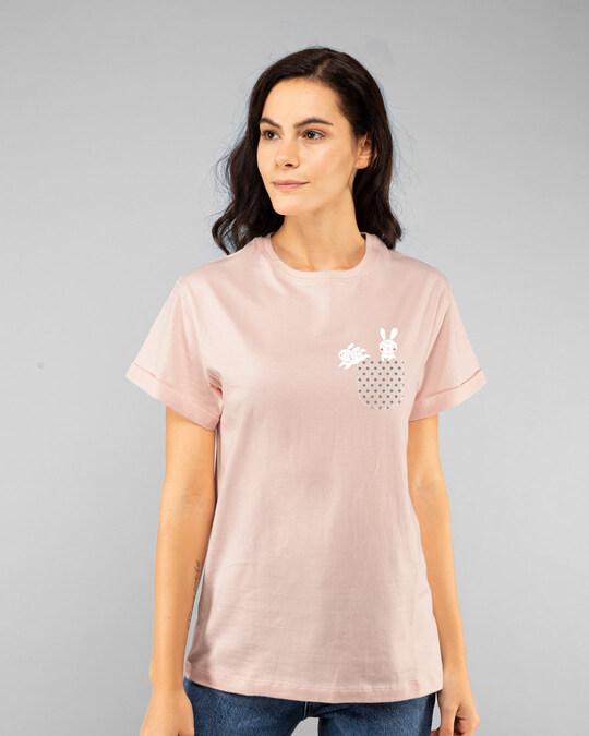 Shop Bunny Rabbit Pocket Boyfriend T-Shirts-Back