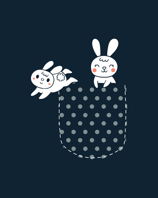 Shop Bunny Rabbit Pocket  Half Sleeve T-Shirts Navy Blue