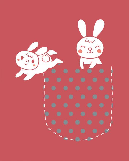 Shop Bunny Rabbit Pocket Round Neck 3/4th Sleeve T-Shirt
