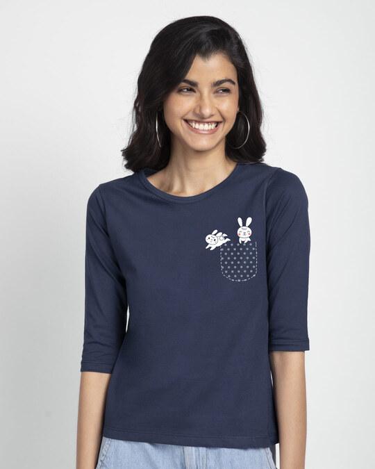 Shop Bunny Rabbit Pocket Round Neck 3/4th Sleeve T-Shirt-Back