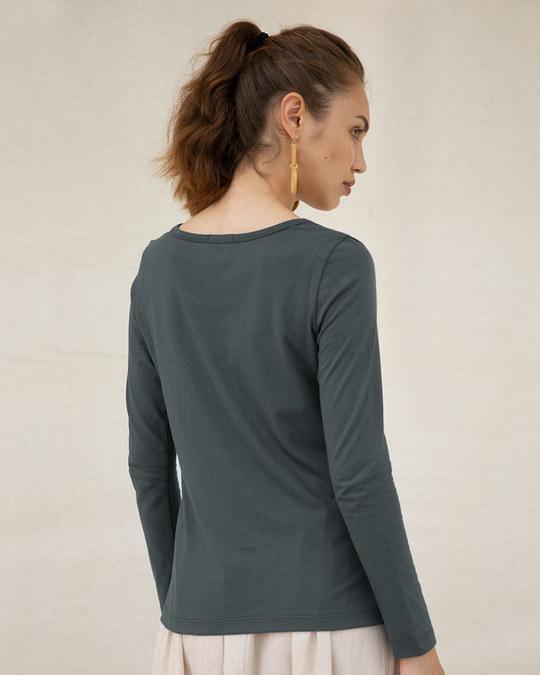 Shop Bunny Rabbit Pocket Scoop Neck Full Sleeve T-Shirt-Back