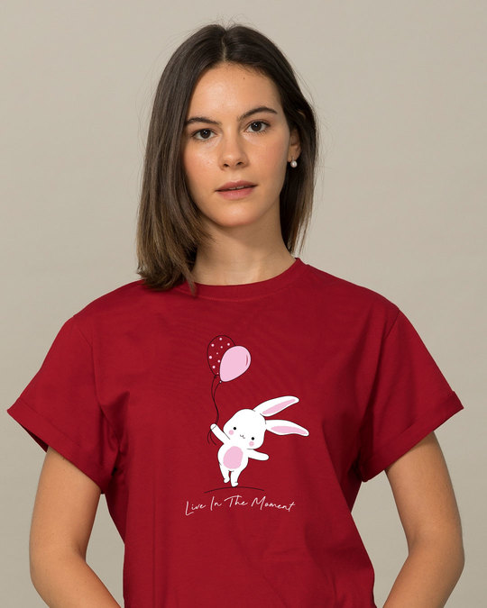 Shop Bunny With Balloons Boyfriend T-Shirt-Front
