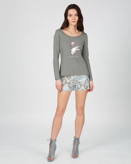 Shop Bunny With Balloons Scoop Neck Full Sleeve T-Shirt-Design