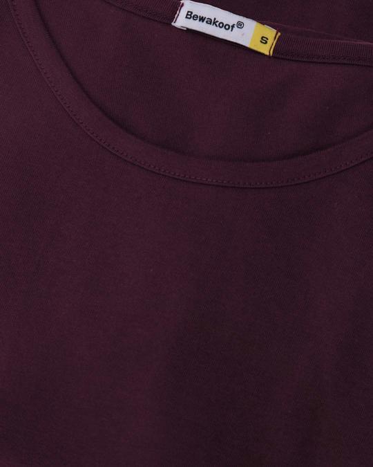Shop Burgundy Basic Round Hem T-Shirt