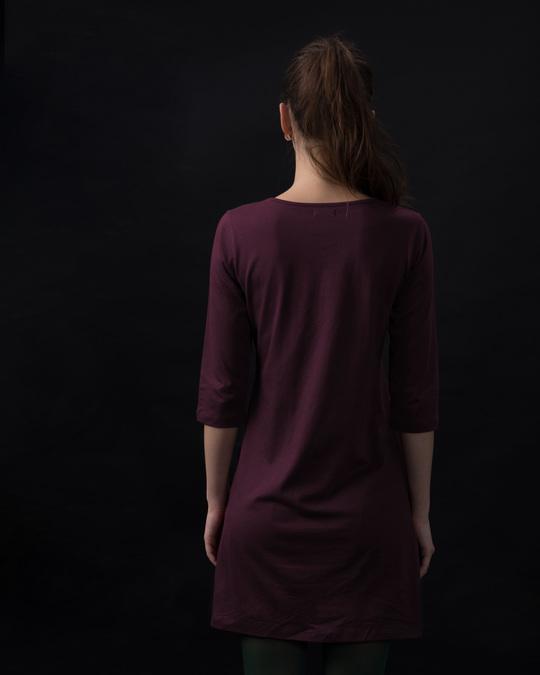 Shop Burgundy Boat Neck 3/4th Sleeve T-Shirt Dress-Full