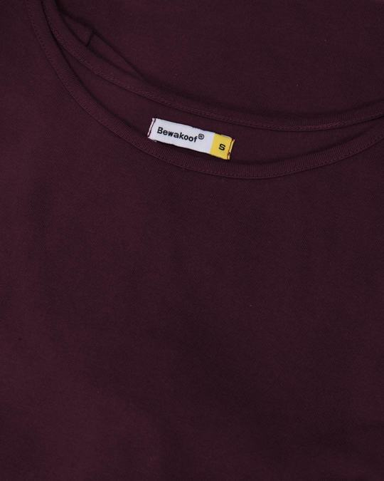 Shop Burgundy Boat Neck 3/4th Sleeve T-Shirt Dress