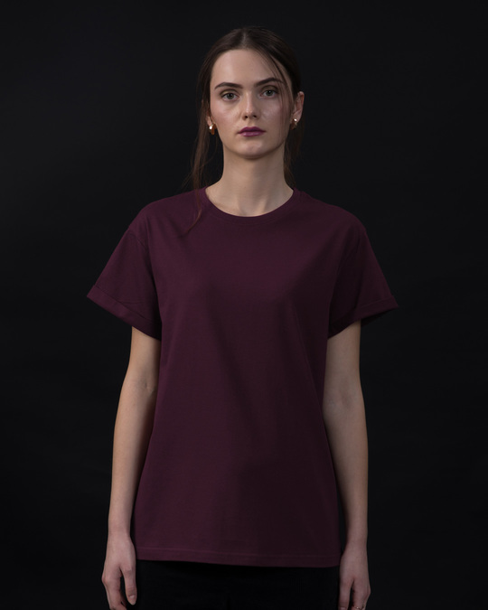 Shop Burgundy Boyfriend T-Shirt-Front