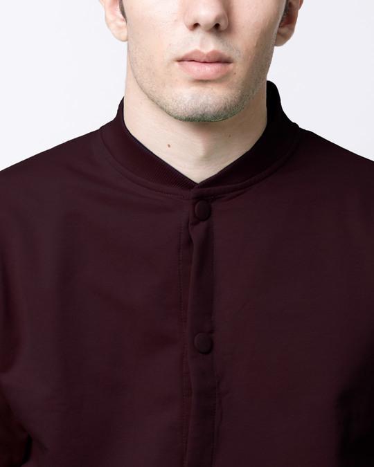Shop Burgundy Buttoned Bomber Jacket
